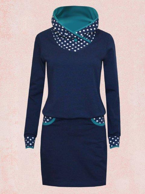 Deep Blue Long Sleeve Polka Dots Turtleneck Dresses
