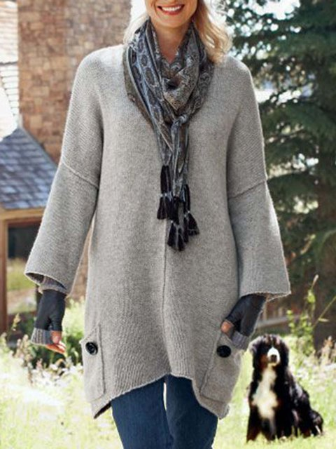 Pockets Solid Sweater Plus Size Knit Jumper