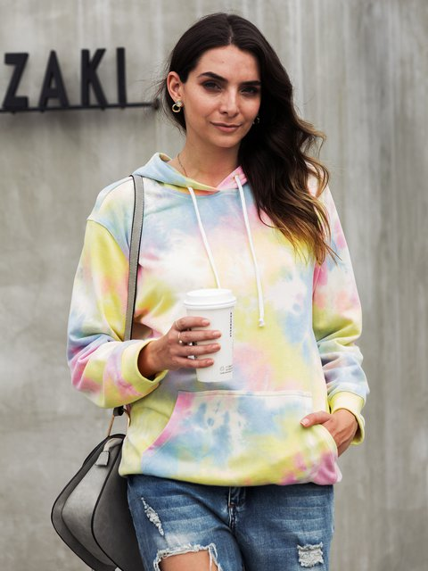 Multicolor Dyed Hoodie Sweatershirt Outerwear
