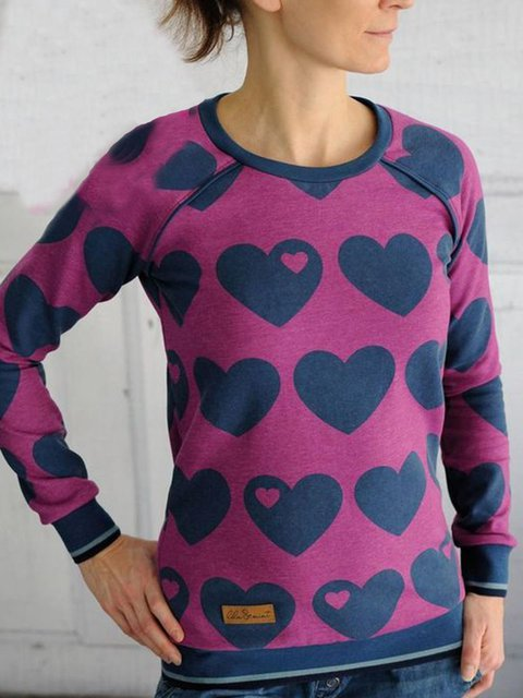 Purple Casual Cotton-Blend Long Sleeve Sweatshirt