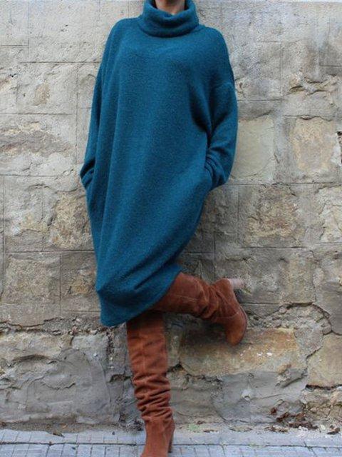 Blue Cowl Neck Casual Dresses