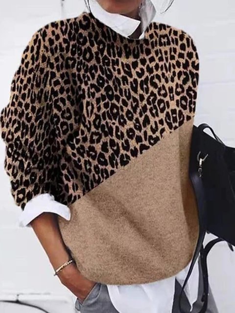Khaki Leopard Print Color-Block Long Sleeve Sweater