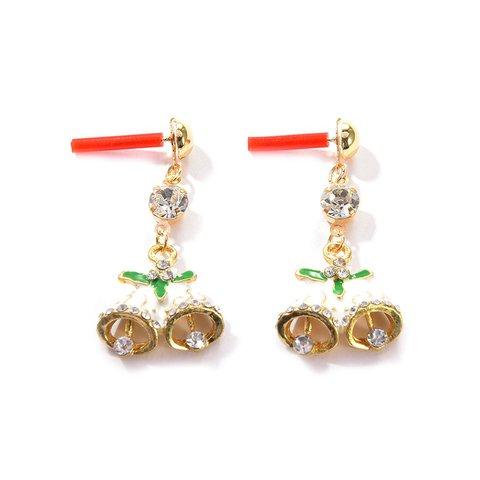 Christmas Bell Shape Rhinestone Earrings