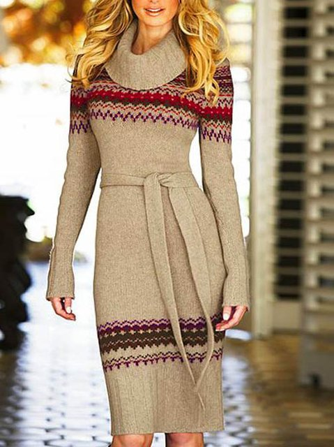 Apricot Vintage Shift Turtleneck Dresses