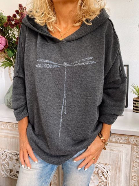 Deep Gray Hoodie Printed Casual Cotton-Blend Shirts & Tops