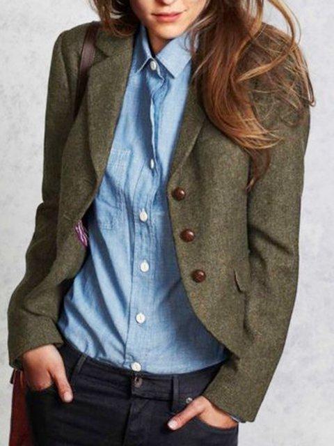 Dark Green Wool Blend Buttoned Solid Elegant Outerwear