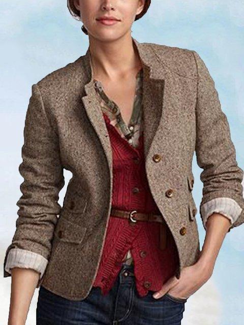 Plus Size Khaki Long Sleeve Wool Blend Outerwear