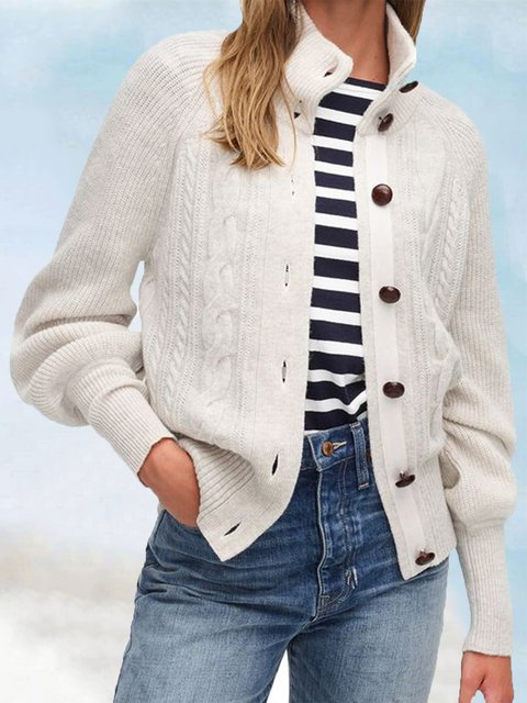 Cotton-Blend Knitted Long Sleeve Sweater