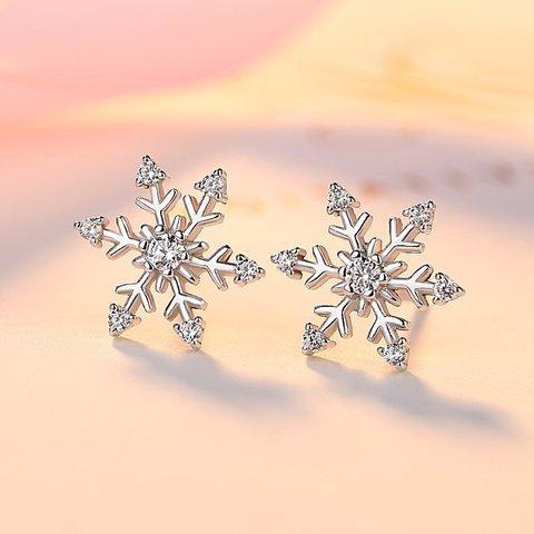 S925 Silver Christmas Snowflake Stud Earrings