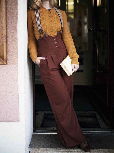 Women Pockets Vintage Solid Jumpsuits