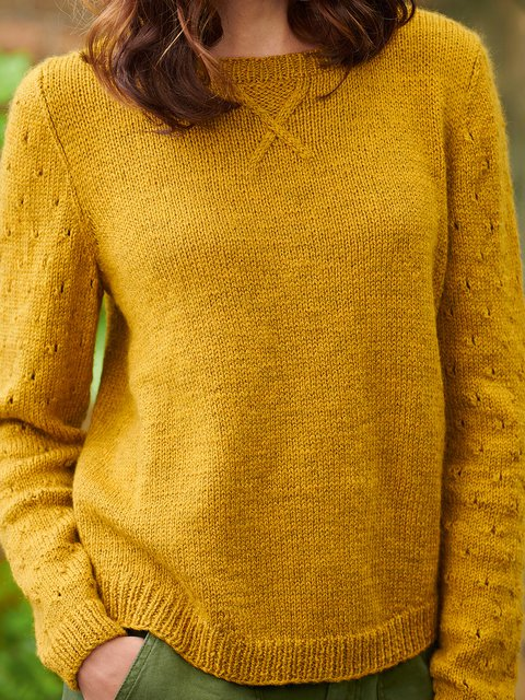 Solid Sweater Plus Size Knitted Jumper