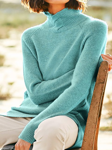 Long Sleeve Turtleneck Knitted Basic Sweater