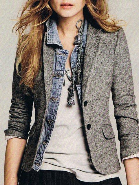 Gray Long Sleeve Paneled Cotton-Blend Outerwear