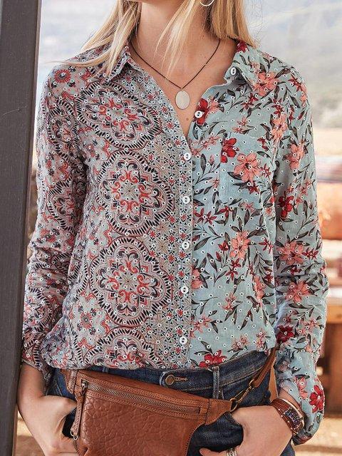 Printed Cotton V Neck Long Sleeve Shirts & Tops