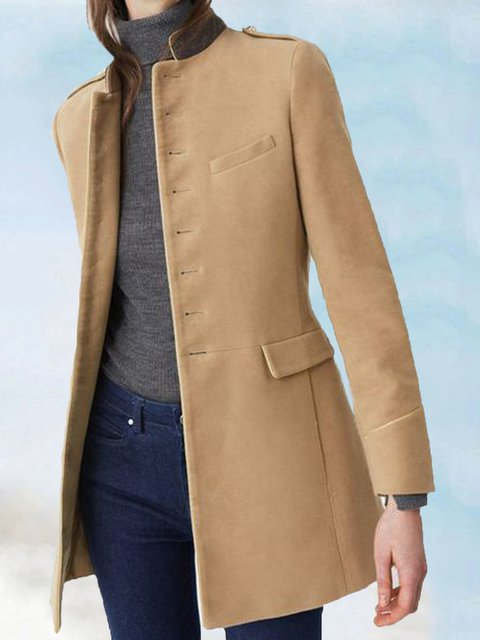 Solid Buttoned Long Sleeve Casual Outerwear
