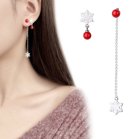 Christmas Snowflake Red Beads Earrings