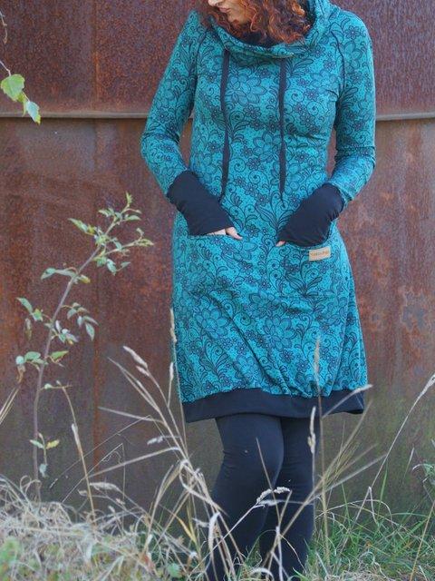 Printed Casual Hoodie Dresses