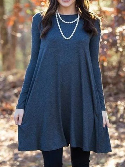 Women Long Sleeves Crew Neck Casual Dresses