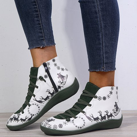 Womens Christmas Shoes Low Heel Zipper Ankle Boots