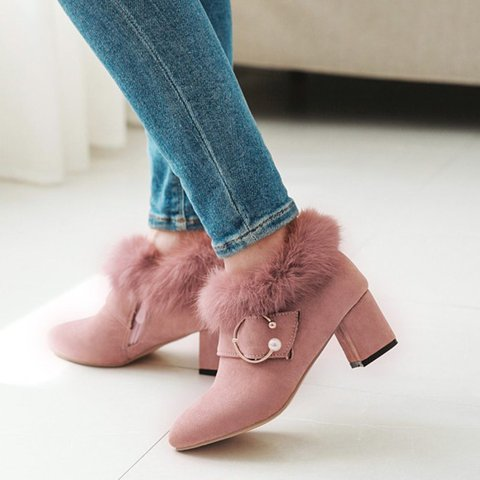 Chunky Heel Faux Fur Ankle Boots Sweet Shoes
