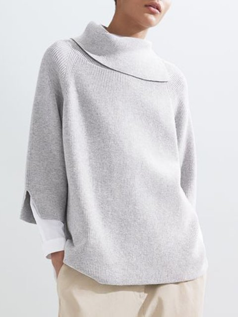 Solid Sweater Plus Size 3/4 Sleeve Knitted Jumper