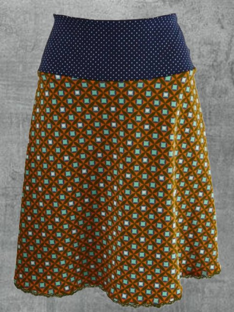 Multicolor Floral-Print Polka Dots Cotton-Blend Casual Skirts