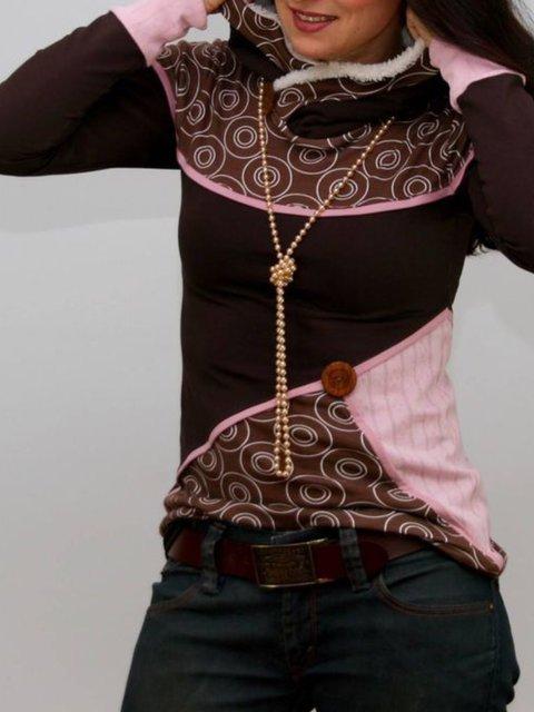 Casual Paneled Round Neck Sweatshirt