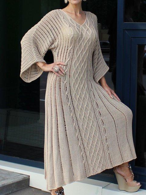 Beige Knitted Plain Long Sleeve Dresses