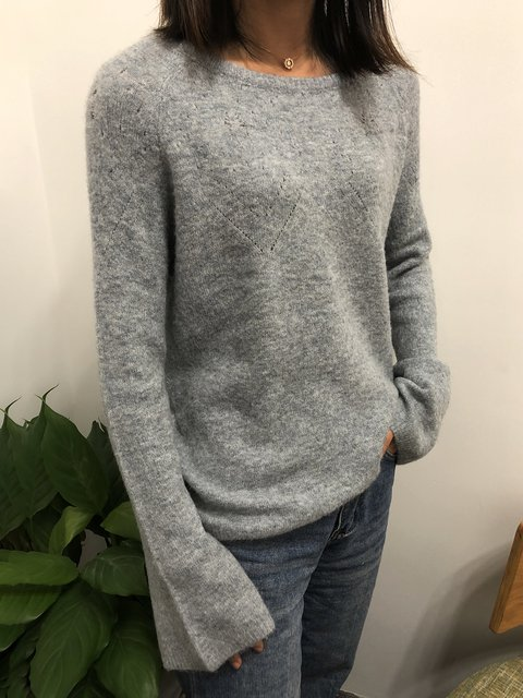 Knitted Casual Crew Neck Shift Sweater