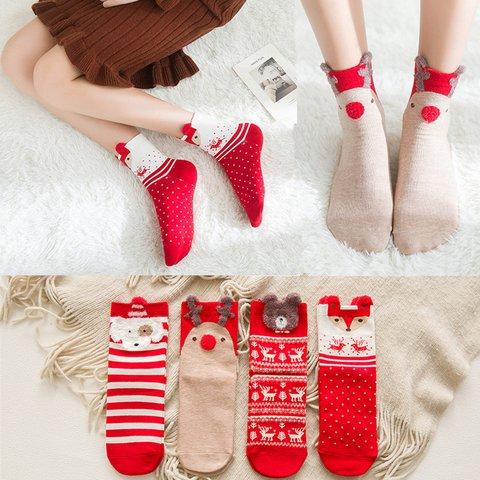 Fashion Colored Cotton Red Socks Cartoon Christmas Socks