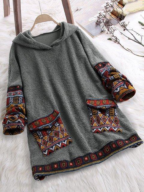 Women Paneled Pockets Casual Sweatshirt