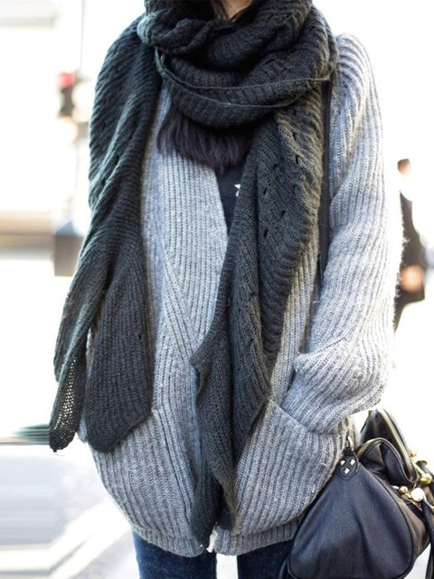 Solid Jumper Plus Size Sweater