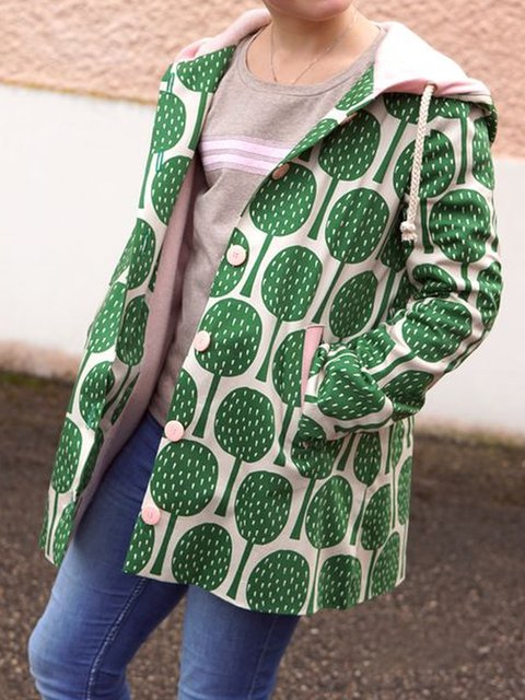 Printed Casual Long Sleeve Outerwear