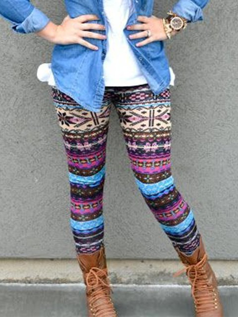 Vintage Multicolor Geometric Printed Plus Size Casual Pants