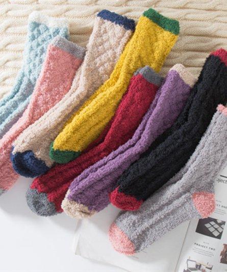 Coral Fleece Warm Mid-Carf Socks - One size