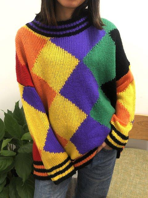 Multicolor Long Sleeve Geometric Crew Neck Sweater