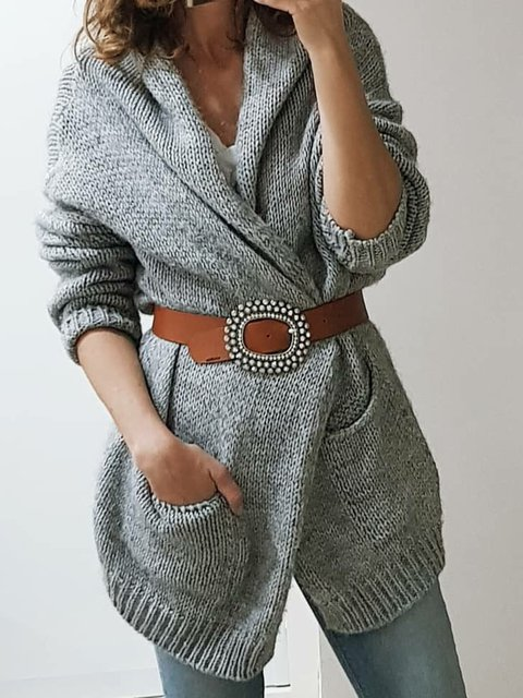 Solid Pockets Cardigan Plus Size Sweater