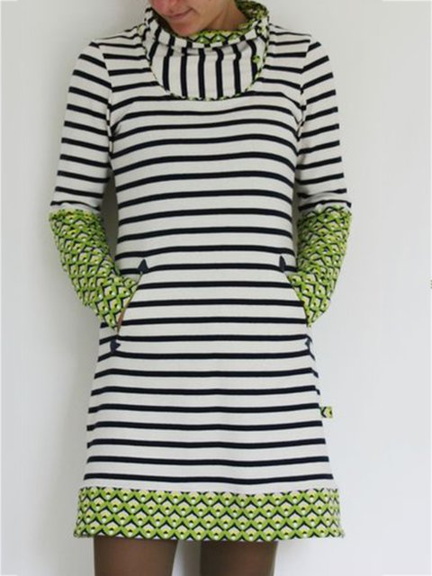 Striped Casual Paneled Cowl Neck Dresses