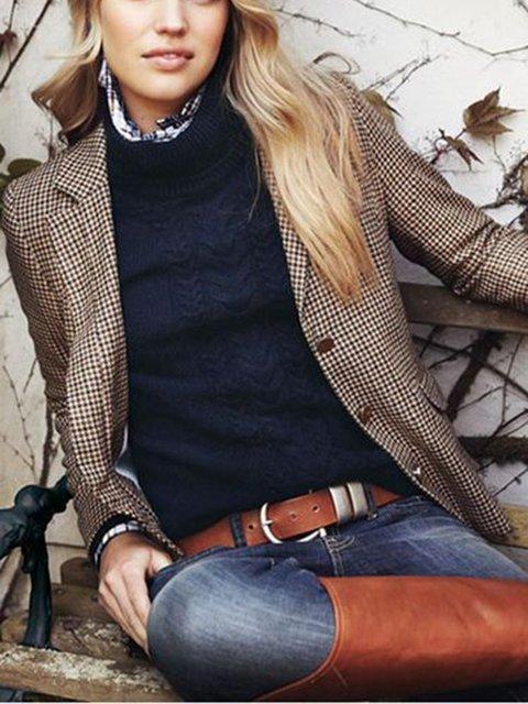 Brown Checkered/plaid Vintage Blazer Outerwear