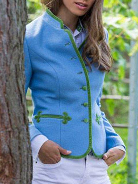 Blue Plain Casual Cotton-Blend Outerwear