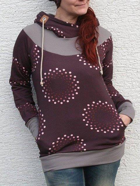 Red Brown Plain Long Sleeve Sweatshirt