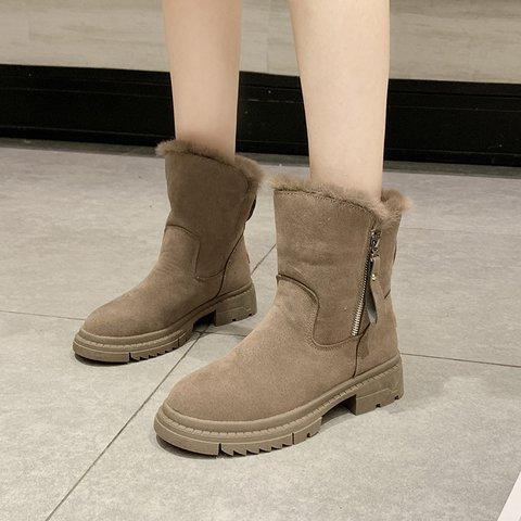 Women Warm Boots Artificial Suede Zipper Fall Casual Shoes
