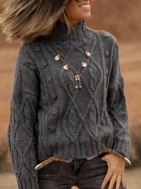 Casual Plus Size Turtleneck Sweater