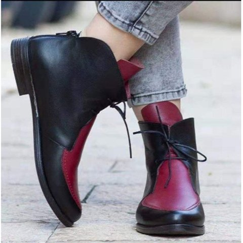 Color Block Womens Low Heel Pu Lace Up Martin Boots