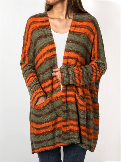 Women Pockets Color-block Casual Sweater Cardigans
