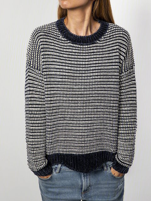 White-Black Cotton-Blend Casual Knitted Sweater