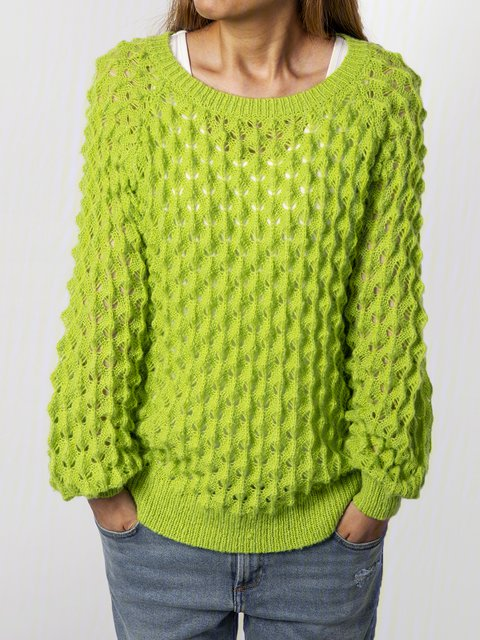 Plus Size Green Long Sleeve Cotton-Blend Sweater