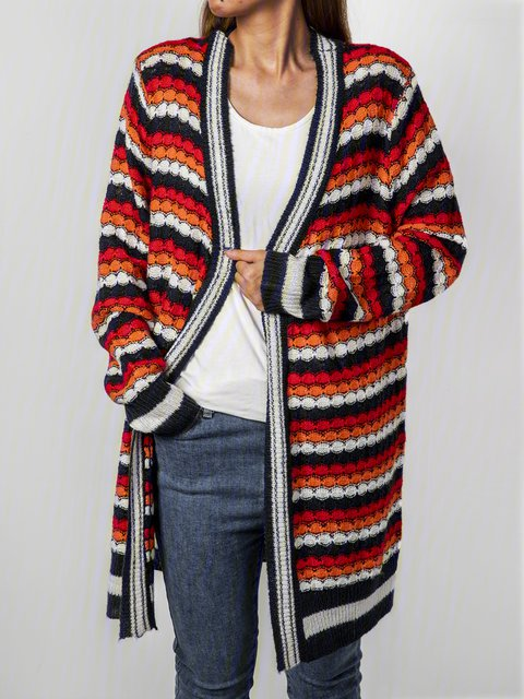 Women Color-block Striped Casual Sweater Cardigans