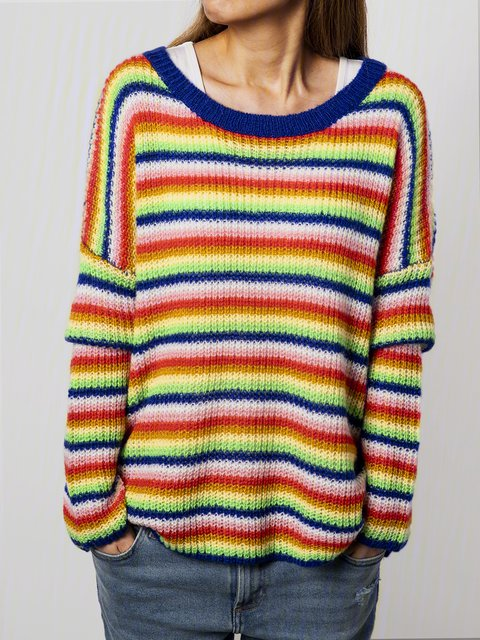 Yellow Long Sleeve Cotton-Blend Casual Sweater