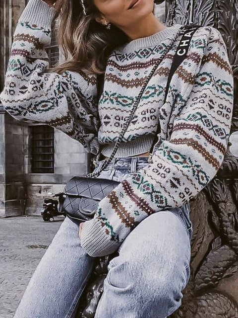 Geometric Crew Neck Long Sleeve Sweater
